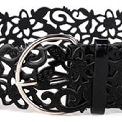 Stretchový dámský pásek se sponou - černá