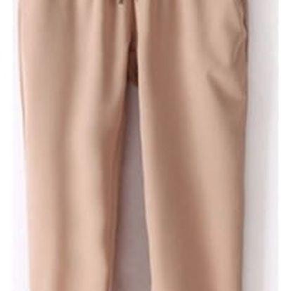 Pohodlné dámské kalhoty z příjemného šifonu - různé barvy - 5-Khaki