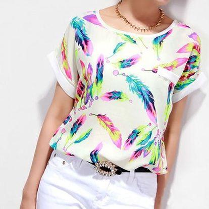 Dámské triko s barevnými pírky - vel. 2