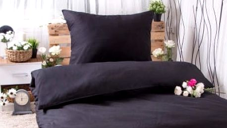 XPOSE ® Bavlněné povlečení na dvě lůžka MICHAELA - černá 140x200, 70x90