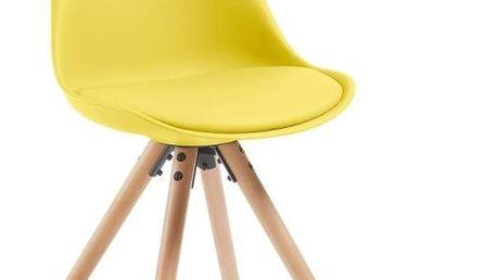 Sada 4 žlutých jídelních židlí s dřevěným podnožím La Forma Lars - doprava zdarma!