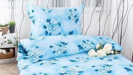 XPOSE ® Bavlněné povlečení na dvě lůžka ODETA - modrá 140x200, 70x90