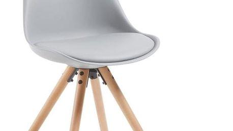 Sada 4 šedých jídelních židlí s dřevěným podnožím La Forma Lars - doprava zdarma!