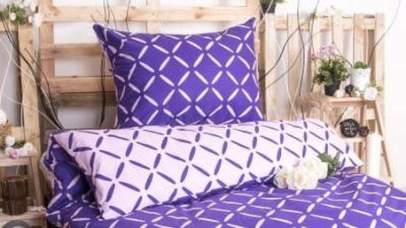 XPOSE ® Prodloužené bavlněné povlečení KRISTÝNA DUO EXCLUSIVE - fialová 140x220, 70x90