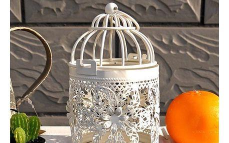 Vintage stojánek na svíčku v bílé barvě