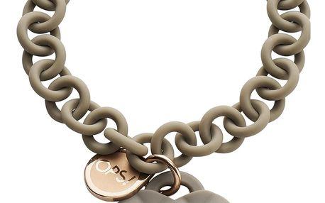 Ops! Objects náramek Matelassé Pearl šedý s růžovými perlami