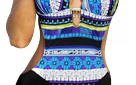 Push-up jednodílné plavky s krásnými vzory - Modrá, velikost 5