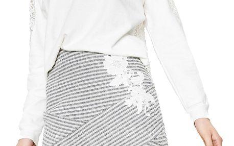 Desigual šedá sukně Marti s výšivkou