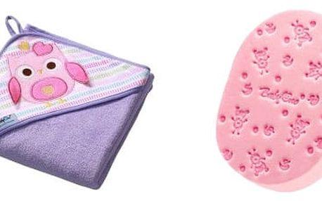 BABY ONO Osuška s kapucí - froté 100x100 Sovička - fialová + Houbička na mytí růžová