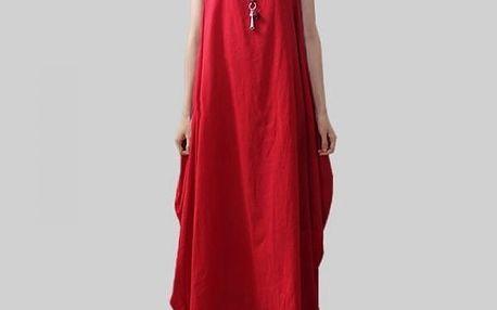 Dámské šaty v rozevlátém stylu - červená, velikost 4