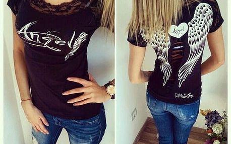 Tričko s andělskými křídly - černá, velikost 5 - dodání do 2 dnů