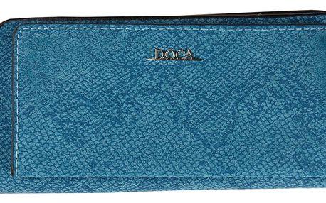Doca modrá peněženka s motivem hadí kůže