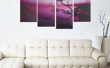 Obraz - fialová příroda - 4 ks