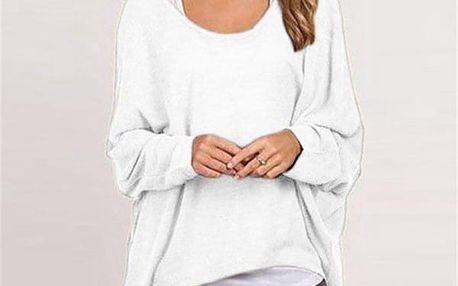 Lehký dámský svetřík v mnoha barvách - Bílá, velikost 4