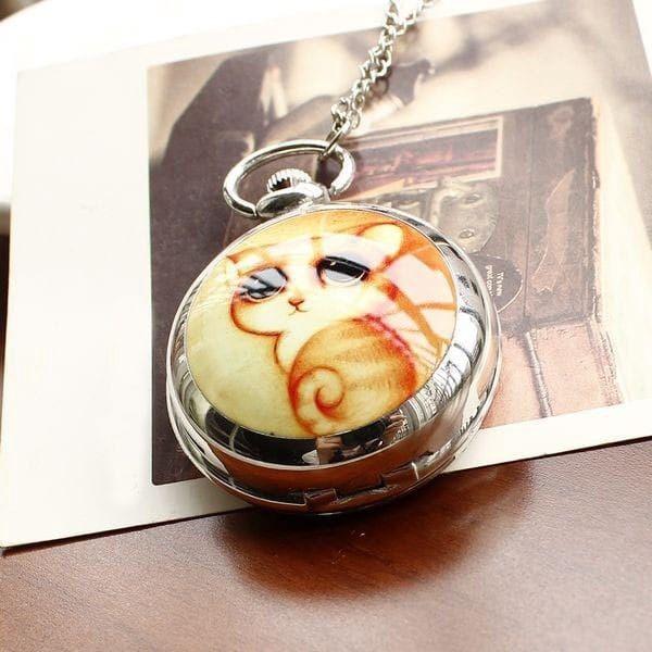 Závěsné hodinky se zrcátkem a obrázkem kočky