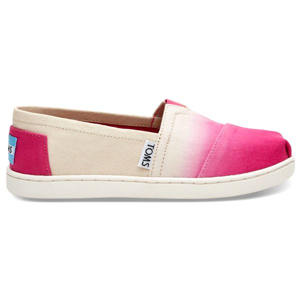 Toms krémovo-růžové junior espadrilky Classic Fuchsia Dip Dye