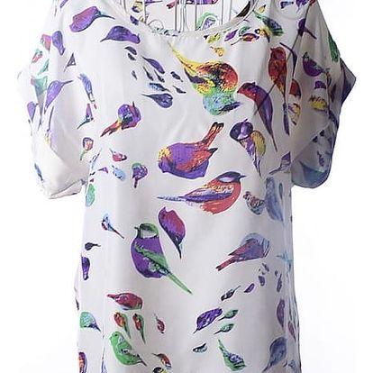 Volné šifonové tričko s veselým vzorem - velikost 3, varianta 6