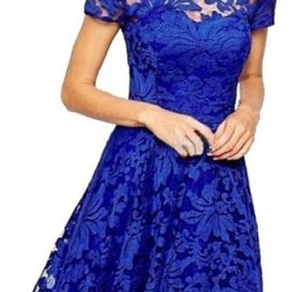 Dámské elegantní krajkované módní šaty - modrá - 3