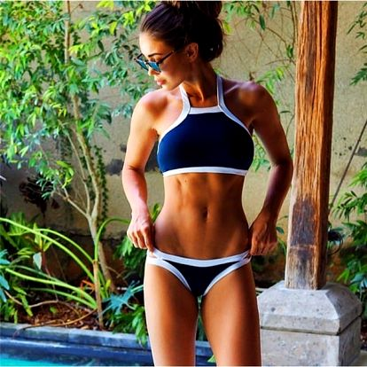 Dámské bikini v modrobílé kombinaci - velikost č. 4 - dodání do 2 dnů