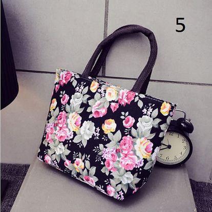 Dámská letní kabelka s květinovým vzorem - vzor 5 černá