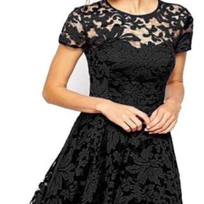 Dámské elegantní krajkované módní šaty - černá, velikost 6