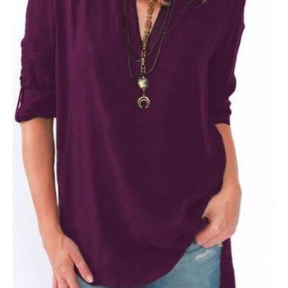 Pohodlné triko s ohnutými rukávy - fialová, velikost č. 2