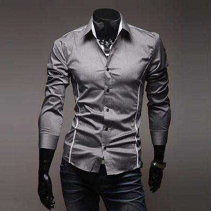 Pánská elegantní košile SLIM FIT - šedá, velikost 4