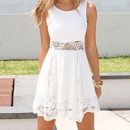 Letní bílé šatičky s krajkou - velikost č. 5