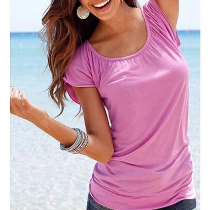 Dámské tričko s kulatým výstřihem - růžová, velikost 5 - dodání do 2 dnů