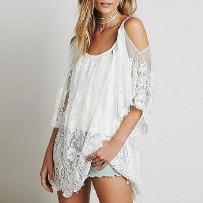 Letní krajkové šaty přes plavky - bílá, velikost 5