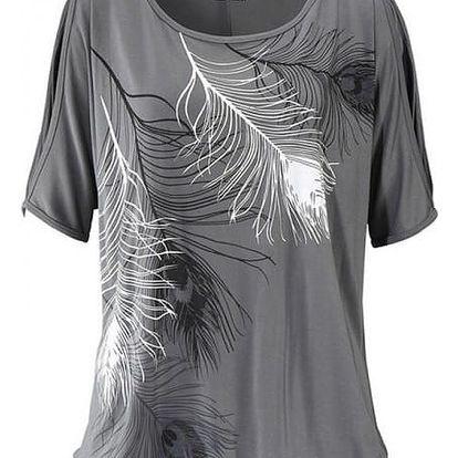 Dámské tričko s odhalenými rameny a peříčky - šedá, velikost 4