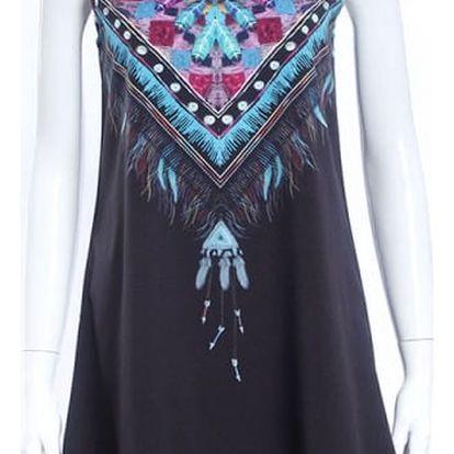 Letní šaty v bohémském stylu - černá, velikost 2