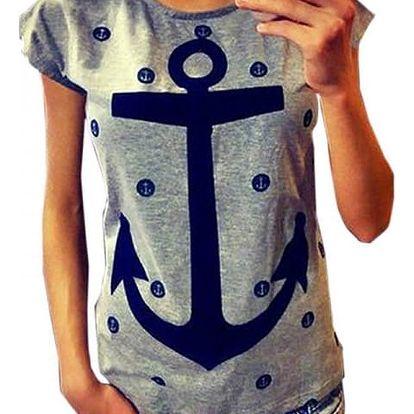 Dámské námořnické tričko - Šedá - 2