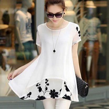 Šifonové prodloužené tričko s květinami - Velikost 6-Bílá