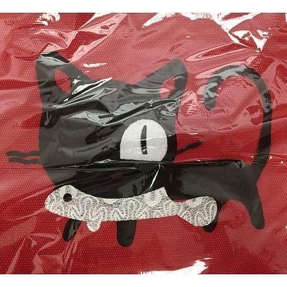 Velká dámská taška s černou kočičkou - červená - dodání do 2 dnů