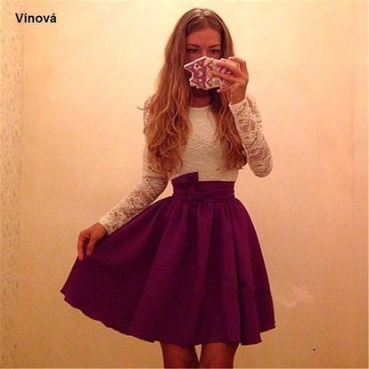 Šaty s áčkovou sukní - Vínová, velikost 3