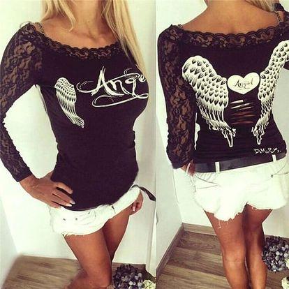Dámské tričko s andělskými křídly a dlouhými krajkovými rukávy - černá, velikost 5