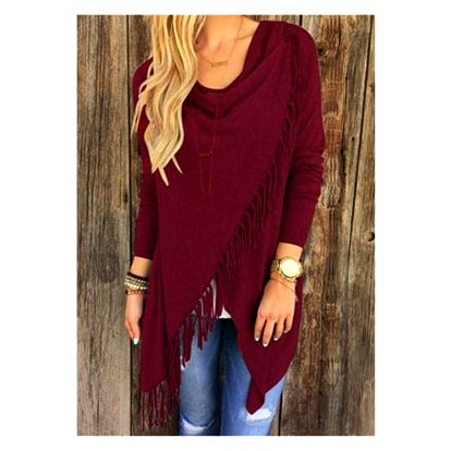 Dámský svetr na způsob ponča - třásně - červená, velikost 4