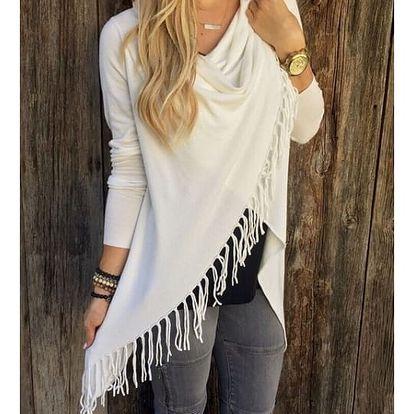 Dámský svetr na způsob ponča - třásně - Bílá, velikost 2