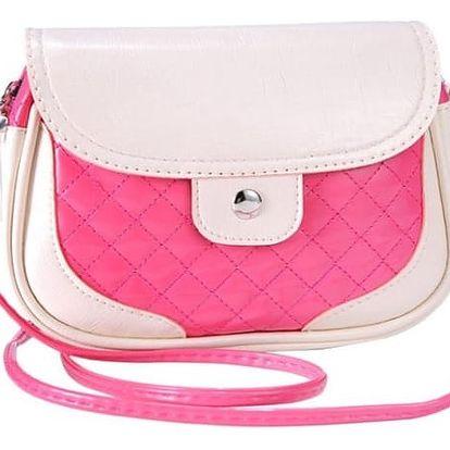 Módní kabelka přes rameno v pestrých barvách - tmavě růžová
