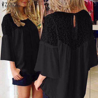Ležérní tričko s krajkou - Černá, velikost 7
