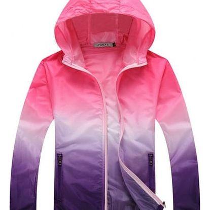 Dámská lehká bunda s barevnými přechody - růžová-velikost č. 5