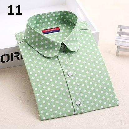 Dámská puntíkatá košile - dlouhý rukáv - 12-velikost č. 6