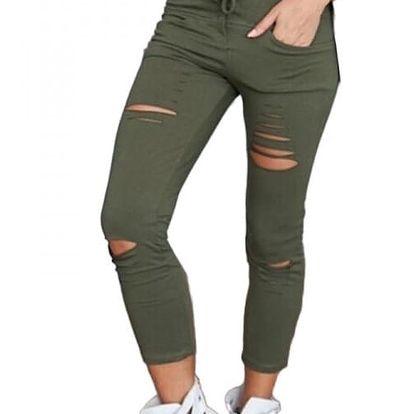Krátké potrhané kalhoty pro dámy - zelená, velikost č. 5