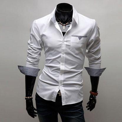 Pánská košile v ležérním stylu s různou barvou vnitřní strany - vínová, vel. 6