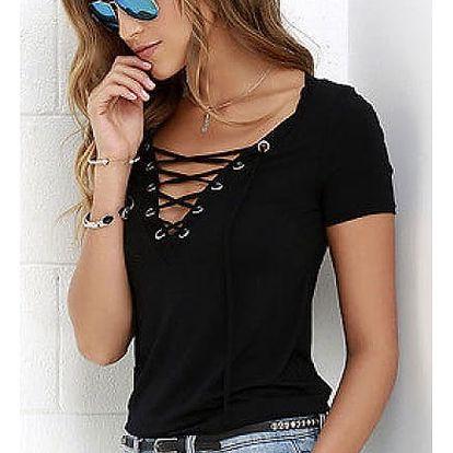 Dámské tričko s výstřihem a šněrováním - černá, velikost 5