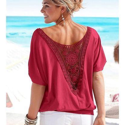 Ležérní triko s úchvatnou krajkou na zádech - červená, velikost č. 6