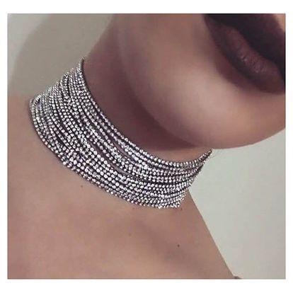 Luxusní choker náhrdelník s kamínky - 2 barvy