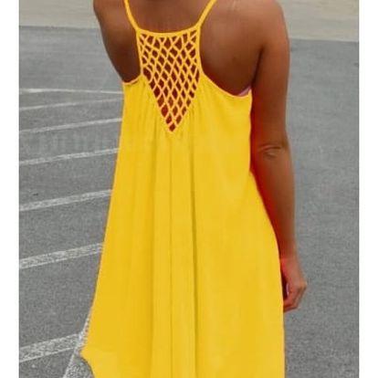 Dámské šaty plážové v pestrých barvách - žlutá - vel. 2
