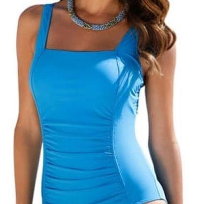 Jednodílné plavky se zeštíhlujícím efektem - tmavě modrá XL